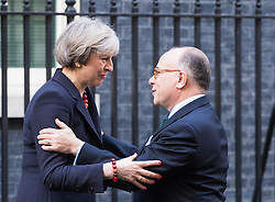 Downing Street, London, February 17th 2017. British Prime Minister Theresa May welcomes her French Counterpart Bernard Cazeneuve to her official residence at 10 Downing Street for bilateral discussions