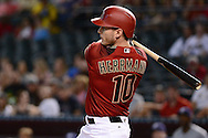 PHOENIX, AZ - JULY 06:  Chris Herrmann #10 of the Arizona Diamondbacks hits an RBI single against the San Diego Padres during the first inning at Chase Field on July 6, 2016 in Phoenix, Arizona.  (Photo by Jennifer Stewart/Getty Images)