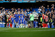 Chelsea Defender John Terry (26) lead Chelsea FC out while Sunderland FC do a guard of honour during the Premier League match between Chelsea and Sunderland at Stamford Bridge, London, England on 21 May 2017. Photo by Andy Walter.