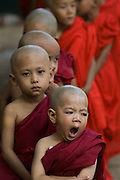 Young novice Monk at head of line, yawning