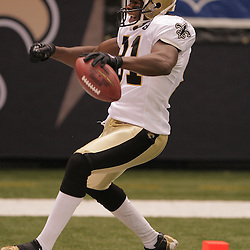 2008 September 7: New Orleans Saints wide receiver David Patten (81) celebrates after scoring on a touchdown pass from Saints quarterback Drew Brees. The New Orleans Saints defeated the Tampa Bay Buccaneers 24-20 at the Louisiana Superdome in New Orleans, LA.