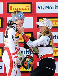 07.02.2017, St. Moritz, SUI, FIS Weltmeisterschaften Ski Alpin, St. Moritz 2017, Super G, Damen, Flower Zeremonie, im Bild v.l. Nicole Schmidhofer (AUT, Weltmeisterin), Lara Gut (SUI, Bronzemedaille) // f.l. World Champion Nicole Schmidhofer of Austria bronze medal winner Lara Gut of Switzerland during the Flowers ceremony for the ladie's SuperG of FIS Ski Alpine World Cup. St. Moritz, Switzerland on 2017/02/07. EXPA Pictures © 2017, PhotoCredit: EXPA/ SM<br /> <br /> *****ATTENTION - OUT of GER*****
