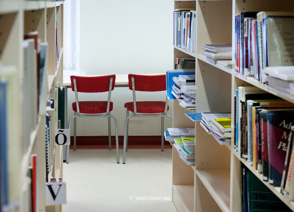 Bookshelves in library of Tartu University, Estonia