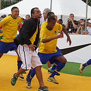 The Brazilian Men's team celebrate winning the Men's Homeless World Cup Final defeating Brazil 6-0. Sixty-four national homeless teams took part in the International football tournament staged on Copacabana beach. Rio de Janeiro. The Brazilian Women made it a clean sweep for Brazil defeating Mexico 7-3 in the Women's World Cup Final. The Homeless World Cup aims at beating homelessness through football and brings awareness to the one billion people who are homeless in the world today. Rio de Janeiro,  Brazil. 26th September 2010. Photo Tim Clayton.