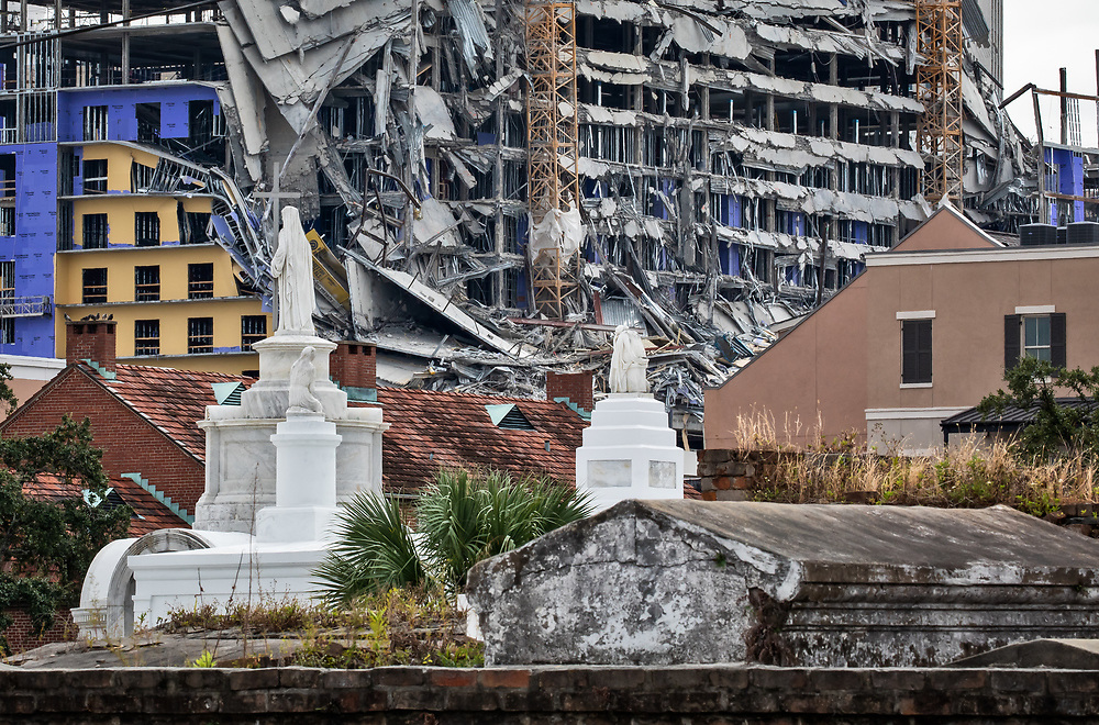 October 12, 2019,  View of the  collapsed Hard Rock Hotel during construction in New Orleans seen from the Saint Louis Cemetery #2. Collapsed Hard Rock Hotel in New Orleans that was under construction when it fell, as see from St Louis Cemetery in New Orleans.