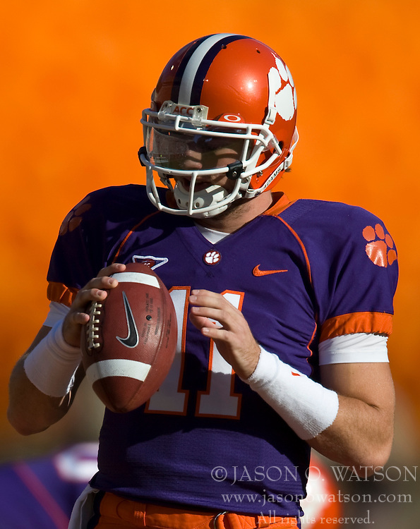 November 21, 2009; Clemson, SC, USA;  Clemson Tigers quarterback Kyle Parker (11) before the game against the Virginia Cavaliers at Memorial Stadium. Clemson defeated Virginia 34-21.