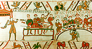 Bayeux Tapestry 1067.  William of Normandy (William I of England) at an open-air feast with his nobles and his half-brother Bishop Odo of Bayeux who is saying grace. Textile Linen Food Drink Cooking Spit