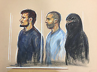 Mohammed Ali Ahmed, 26, Zakaria Boufassil, 26, and Soumaya Boufassil, 29 (veiled), before Westminster Magistrates' Court this morning (29th April 2016)<br />