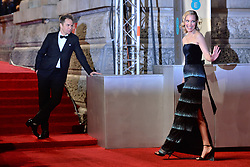 © Licensed to London News Pictures. 18/02/2018. London, UK. LESLIE BIBB and SAM ROCKWELL arrives on the red carpet for the EE British Academy Film Awards 2018, held at the Royal Albert Hall. London, UK. Photo credit: Ray Tang/LNP