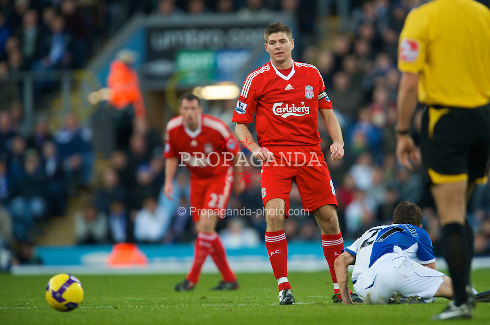 BLACKBURN, ENGLAND - Saturday, December 6, 2008: Liverpool's captain Steven Gerrard MBE and Blackburn Rovers' Matt Derbyshire during the Premiership match at Ewood Park. (Photo by David Rawcliffe/Propaganda)
