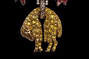 Detail of the golden fleece of the ram, encrusted with jewels, hanging from the reproduction of the Jewel of the Order of the Golden Fleece, 2010, by Herbert Horovitz and his team of jewellers in Geneva, taking 600 hours of work, based on the original drawing by Pierre Andre Jacquemin, 1720-73, Jeweller to the King and Keeper of the Crown Jewels under Louis XV. The blue diamond set in this piece was brought to France from India by Jean-Baptiste Tavernier in 1668 and sold to Louis XIV. It was cut by Jean Pittan in a new 'rose de Paris' design and set in the Grand Insignia of the Order of the Golden Fleece in 1749 for Louis XV. In 1792 this piece and many others were stolen by a revolutionary mob from the Garde-Meuble Royal in Paris. The blue diamond was later re-cut to become the Hope Diamond, now in the Smithsonian Museum in Washington DC, USA, as proved by Francois Farges in 2008. Picture by Manuel Cohen