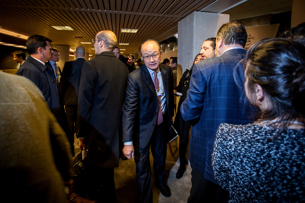 President of the World Bank, Jim Yong Kim, navigates his way between state leaders and their entourage at the World Economic Forum - WEF - in Davos