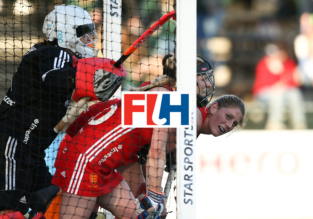 JOHANNESBURG, SOUTH AFRICA - JULY 18:  Zoe Shipperley of England looks on from the goal during day 6 of the FIH Hockey World League Women's Semi Finals quarter final match between England and India at Wits Univesity on July 18, 2017 in Johannesburg, South Africa.  (Photo by Jan Kruger/Getty Images for FIH)