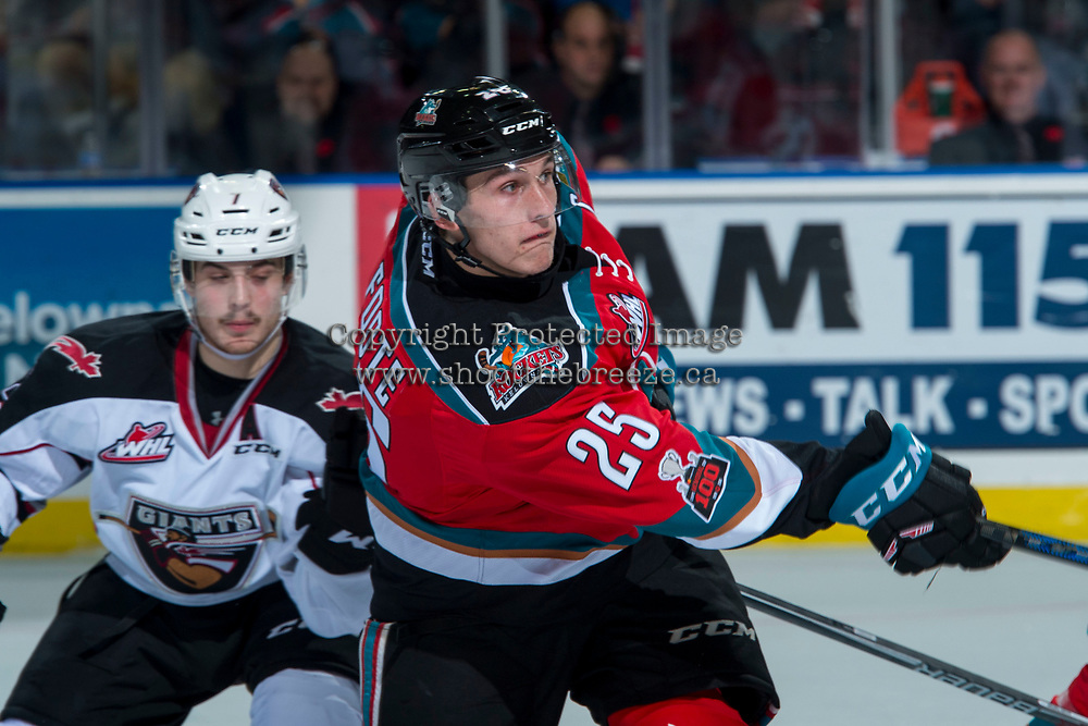 KELOWNA, CANADA - NOVEMBER 10: Cal Foote #25 of the Kelowna Rockets passes the puck during second period against the Vancouver Giants on November 10, 2017 at Prospera Place in Kelowna, British Columbia, Canada.  (Photo by Marissa Baecker/Shoot the Breeze)  *** Local Caption ***