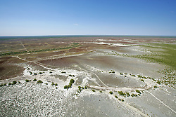Aerial view of the salt pan innundation country behind Roebuck Bay, south of Broome.