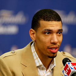 Jun 11, 2013; San Antonio, TX, USA;  San Antonio Spurs shooting guard Danny Green addresses the media in the post-game press conference after game three against the Miami Heat in the 2013 NBA Finals at the AT&T Center. The Spurs defeated the Heat 113-77. Mandatory Credit: Derick E. Hingle-USA TODAY Sports