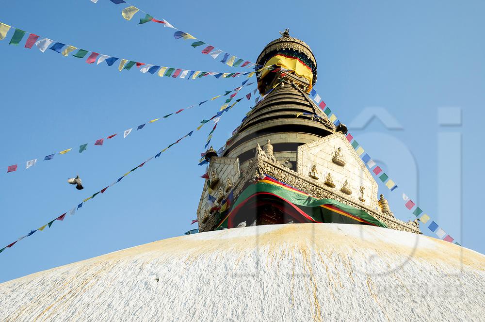 Below view of the Boudhanath Stupa, Nepal, Asia