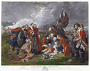Death of General Wolfe' after painting by Benjamin West. James Wolfe (1727-1759) British Army commander, mortally wounded at victory over French at Battle of Plains of Abraham, Quebec.  Seven Years War Canada France