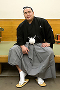 "ASASHORYU - SUMO wrestler with the highest rank of ""YOKOZUNA"", in a changing room of the TOKYO kyokai (sumo stadium), before the retirement ceremony of the wrestler Toki. Tokyo 27 January 2007"