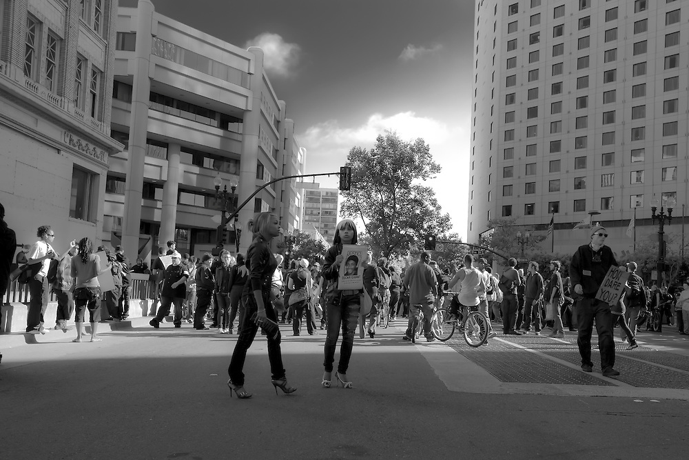 Demonstrators converge on Broadway,  at Oscar Grant rally in Oakland, CA.  Copyright 2010 Reid McNally.