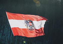 15.02.2020, Kulm, Bad Mitterndorf, AUT, FIS Ski Flug Weltcup, Kulm, Herren, im Bild Österreich Fahne im Gegenlicht // Austrian Flag during his Jump for the men's FIS Ski Flying World Cup at the Kulm in Bad Mitterndorf, Austria on 2020/02/15. EXPA Pictures © 2020, PhotoCredit: EXPA/ JFK