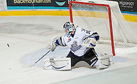 KELOWNA, CANADA, DECEMBER 2: Keith Hamilton #30 of the Victoria Royals makes a save as the Victoria Royals visit the Kelowna Rockets  on December 2, 2011 at Prospera Place in Kelowna, British Columbia, Canada (Photo by Marissa Baecker/Shoot the Breeze) *** Local Caption ***
