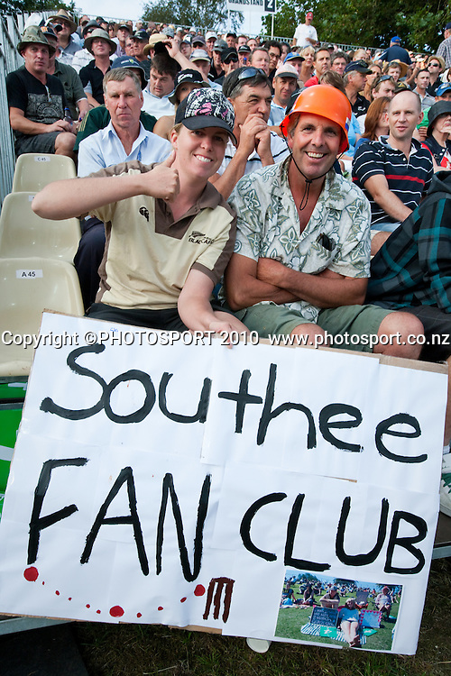 Fans in the stand supporting Tim Southee with a fan club sign during the third one day Chappell Hadlee cricket series match between New Zealand Black Caps and Australia at Seddon Park, won by Australia by 6 wickets in Hamilton, New Zealand. Tuesday 9 March 2010. Photo: Stephen Barker/PHOTOSPORT