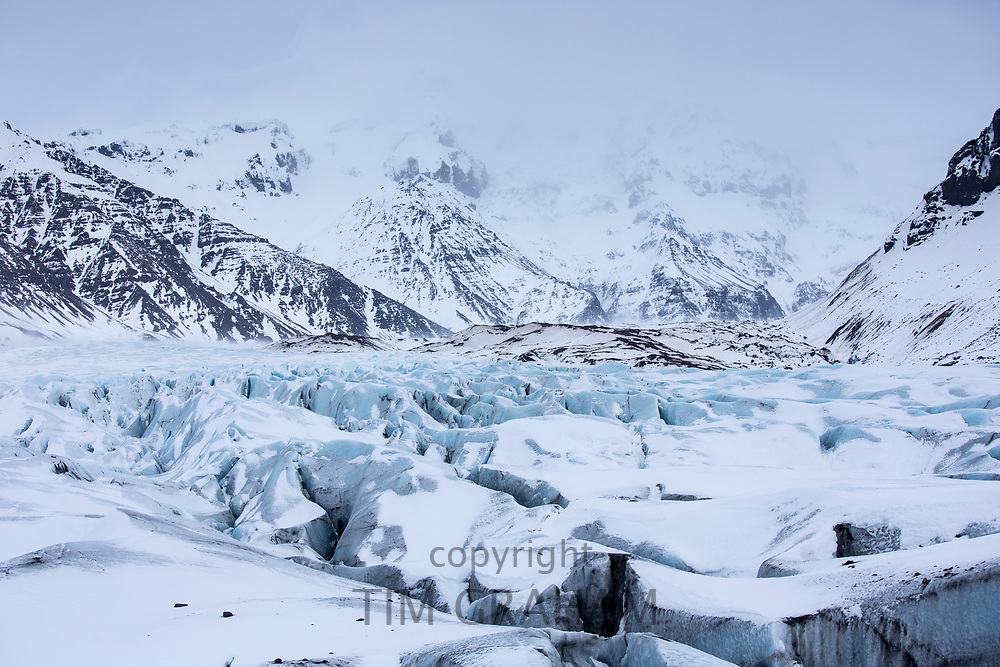 Glacial tongue of Svinafellsjokull glacier an outlet glacier of Vatnajokull, South Iceland