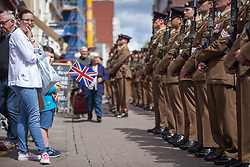 May 20, 2017 - Maidstone, Kent, United Kingdom - Serving and veteran soldiers from the 36 Engineer Regiment join in the Civic & Freedom Parade today in Maidstone, Kent. They will be accompanied by the Queens Gurkha Engineers and the Band of the Brigade of Gurkhas. (Credit Image: © Manu Palomeque/London News Pictures via ZUMA Wire)