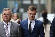 Manchester UK 21.02.2017: Jack Tuohy arrives at Minshull Street Crown Court. At what is the first day of his  4 day trial. Jack Tuohy is charged with engaging in sexual activity with a child, 2 of causing or inciting a child to engage in sexual activity and 1 of meeting with a child following sexual grooming.<br /> At the time when he was playing for Oldham Athletic Football club: Photo Credit Jordan Sinclair/UK News Media