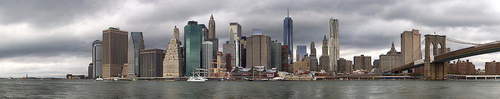 The Manhattan Skyline, taken from across the East River, in Brooklyn.