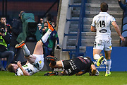 Duhan van der Merwe barges through to score try during the Guinness Pro 14 2017_18 match between Edinburgh Rugby and Glasgow Warriors at Myreside Stadium, Edinburgh, Scotland on 28 April 2018. Picture by Kevin Murray.