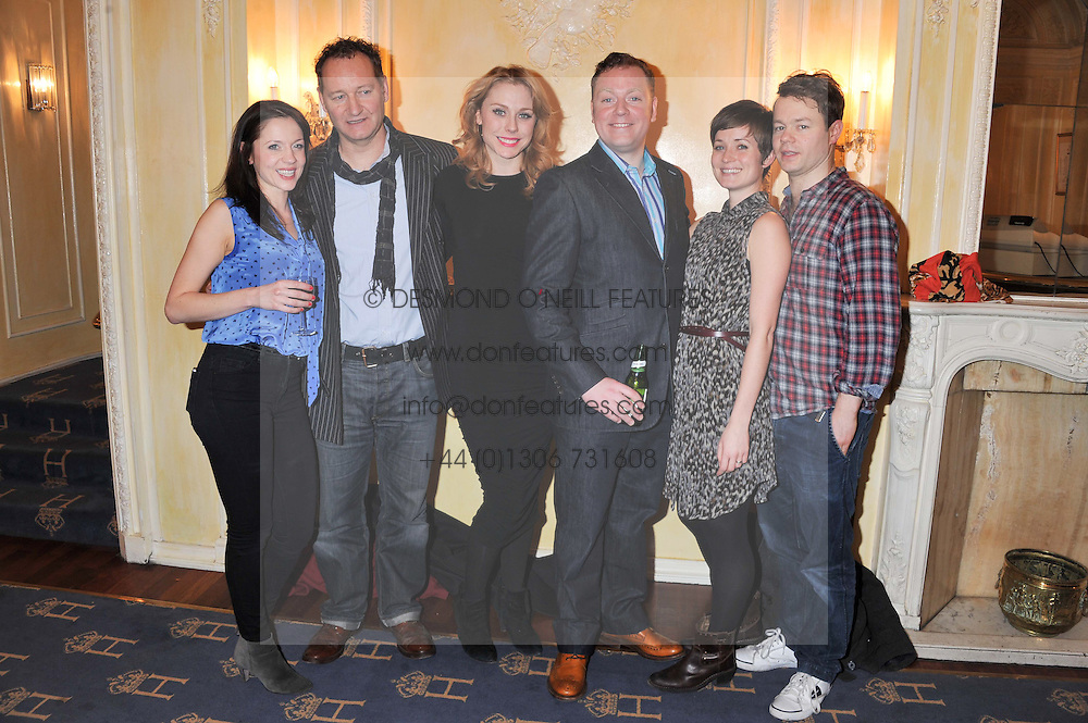 Left to right, Rhona Croker, Richard Bean, Kelly Price, Rufus Hound, Amy Cudden and Sam Alexander at an after show party following the cast change from 'One Man, Two Guvnors' held at the Theatre Royal Haymarket, London on 12th February 2013.