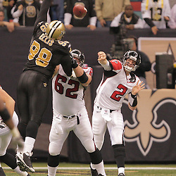 2008 December, 07: Atlanta Falcons quarterback Matt Ryan (2) throws past New Orleans Saints defensive tackle Sedrick Ellis (98) during a 29-25 victory by the New Orleans Saints over NFC South divisional rivals the Atlanta Falcons at the Louisiana Superdome in New Orleans, LA.