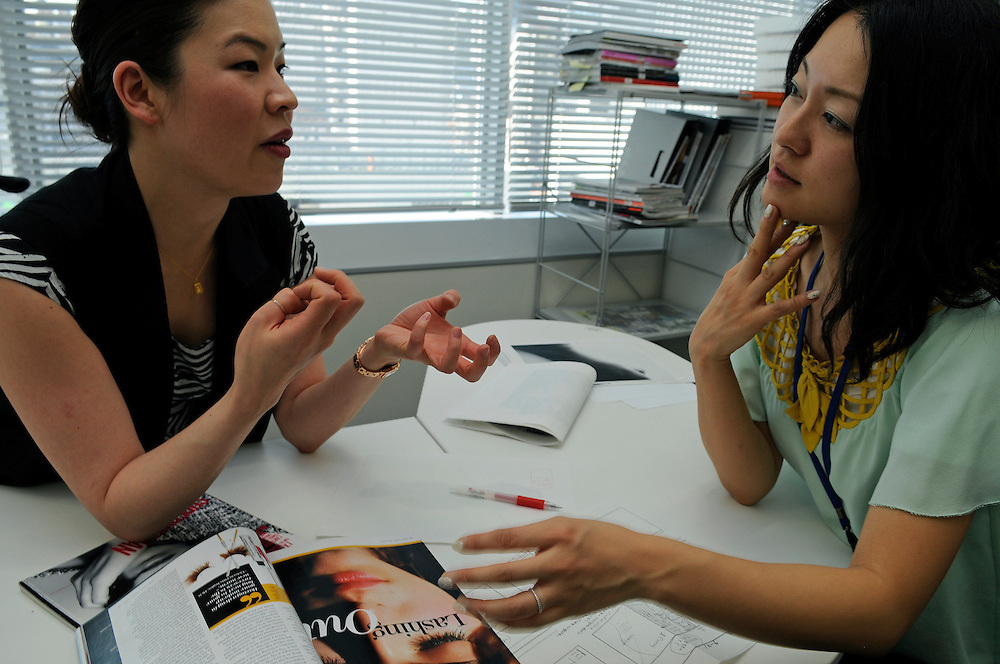at Marie Claire Japan office.Ning Chao and Marie Claire Japan Beauty chief Naho Moriyama