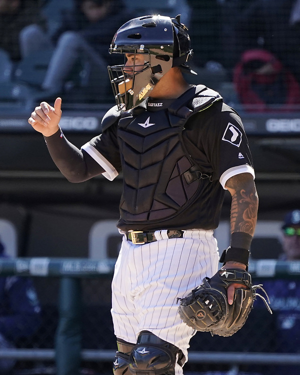 CHICAGO - APRIL 25:  Omar Narvaez #38 of the Chicago White Sox looks on while catching against the Seattle Mariners on April 25, 2018 at Guaranteed Rate Field in Chicago, Illinois.  (Photo by Ron Vesely)   Subject:   Omar Narvaez