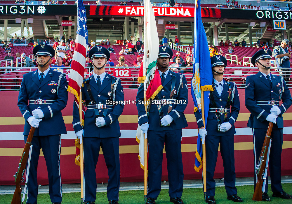 SEP 12,2016: Members of the Color Guard stand together before the regular season NFL  game between the San Francisco 49ers verses the Los Angeles Rams at Levi's Stadium in Santa Clara, CA. (Photo by Samuel Stringer/Icon Sportswire)