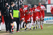 Luke Wanadio scores and celebrates his goal during the Vanarama National League match between Welling United and Cheltenham Town at Park View Road, Welling, United Kingdom on 5 March 2016. Photo by Antony Thompson.