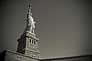 Wide-angled picture of the Statue of liberty, Liberty Island, New York, 2010.