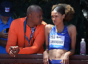 Jun 30, 2019; Stanford, CA, USA; Vashti Cunningham (USA), right, talks with father and coach Randall Cunningham during the 45th Prefontaine Classic at Cobb Track & Angell Field.