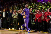 27 October 2009: Guard Kobe Bryant of the Los Angeles Lakers enters the court during the Los Angeles Lakers ring ceremony before the Lakers 99-92 victory over the LosAngeles Clippers at the STAPLES Center in Los Angeles, CA.