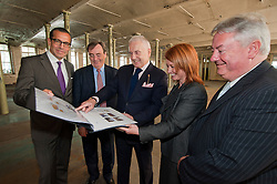 Left to right .Stefan Gabriel President of 3M new ventures, Sir George Buckley former Chairman of 3 M, Alan Lewis CBE Chairman of Hartley Property Group, Jacqui Gedman of Kirklees Council and Prof. Bob Cragan Vice Chair of the University of Huddersfield...Take a look around the 150,000 Square foot Globe Mills which is now set to become the The Globe Innovation Centre after signing the  Joint Venture agreement on Monday Morning (18 June 2012)..18 June 2012.Image © Paul David Drabble