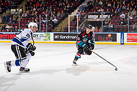 KELOWNA, CANADA - NOVEMBER 23:  Conner Bruggen-Cate #20 of the Kelowna Rockets skates against the Victoria Royals on November 23, 2018 at Prospera Place in Kelowna, British Columbia, Canada.  (Photo by Marissa Baecker/Shoot the Breeze)