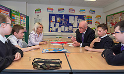 Pictured: John Swinney joined the literacy class led by teacher Michelle Brown, with students Ailsa Gear, Daniel Vancderyl, Oran Rogers, Sarah Rose Markie and Mark Watson<br /><br />The Deputy First Minister visited Holy Rood High School in Edinburgh today to meet parents and pupils before announcing GBP50 million funding for improving attainment.  The results of a survey of headteachers were also published during the Deputy First Minister's visit.<br /><br /> Ger Harley | EEm 30 May 2019