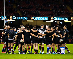 Barbarians team huddle during the pre match warm up<br /> <br /> Photographer Simon King/Replay Images<br /> <br /> Friendly - Wales v Barbarians - Saturday 30th November 2019 - Principality Stadium - Cardiff<br /> <br /> World Copyright © Replay Images . All rights reserved. info@replayimages.co.uk - http://replayimages.co.uk