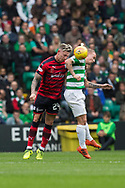 14th October 2017, Celtic Park, Glasgow, Scotland; Scottish Premiership football, Celtic versus Dundee; Dundee's Josh Meekings beats Celtic's Leigh Griffiths in the air