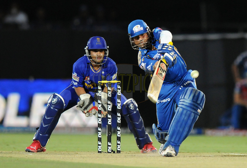 Sachin Tendulkar of Mumbai Indians bats during match 72 of the Indian Premier League ( IPL) 2012  between The Rajasthan Royals and the Mumbai Indians  held at the Sawai Mansingh Stadium in Jaipur on the 20th May2012..Photo by Pal Pillai/IPL/SPORTZPICS