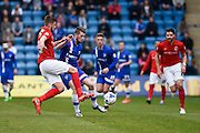Gillingham forward Rory Donnelly and Coventry defender Jack Stephens fight for the ball during the Sky Bet League 1 match between Gillingham and Coventry City at the MEMS Priestfield Stadium, Gillingham, England on 2 April 2016. Photo by David Charbit.