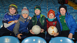 Claremorris supporters wrapped up well watching the U21 final from left Tom Comer, Jack Noone, Jack Comer, Henry Noone and Conor Harte<br />Pic Conor McKeown