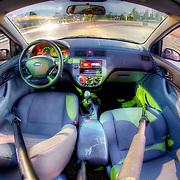 Interior of my car near 17th and Wyandotte, Kansas City, Missouri.
